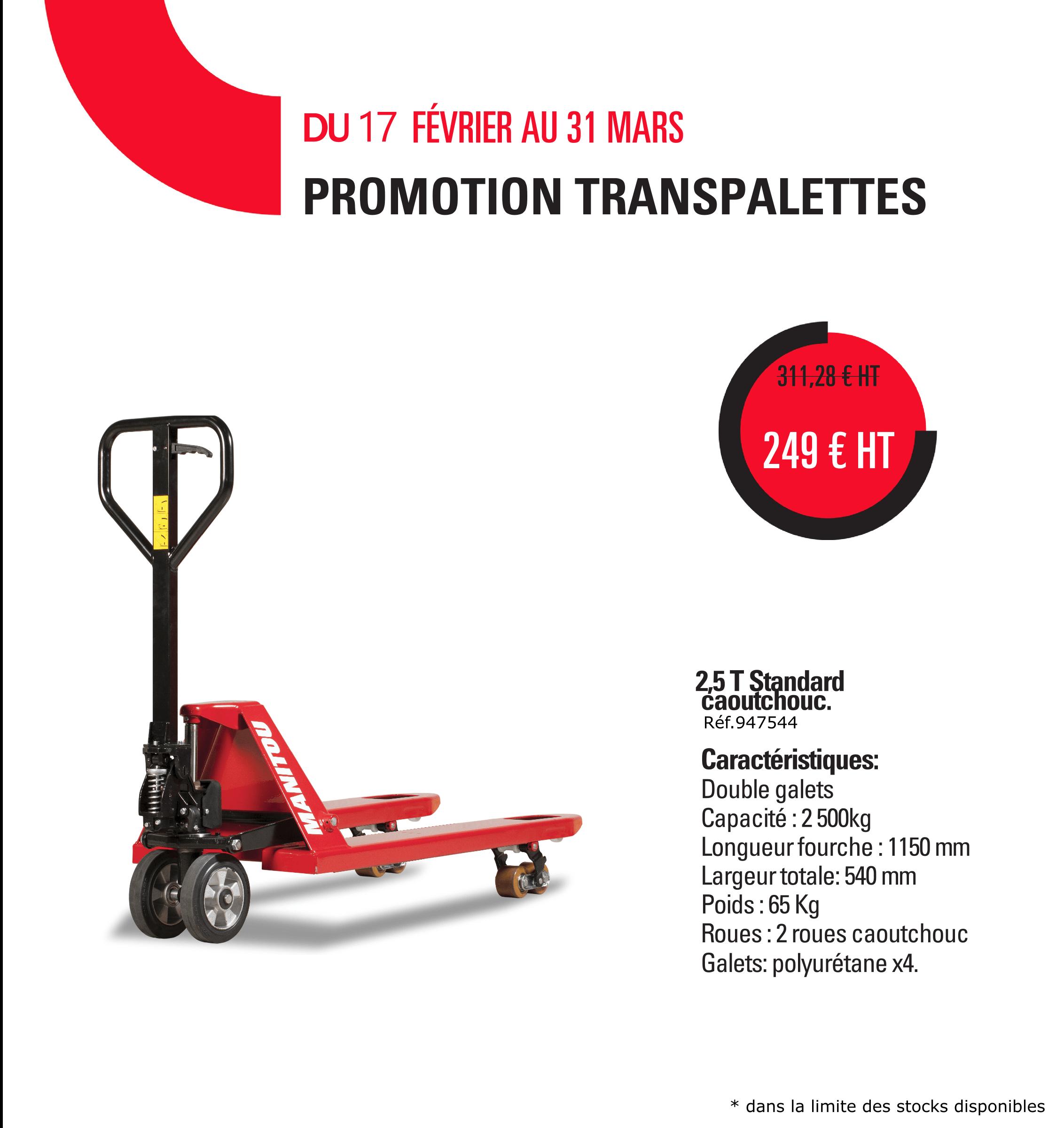 Transpalette Manitou 249 € Ht